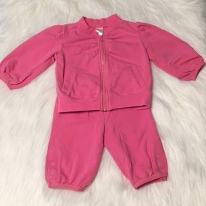 Old Navy Pink french terry sweat suit Size 3-6 M